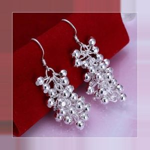 Sterling Silver Plated Grapes Dangle Hook Earrings
